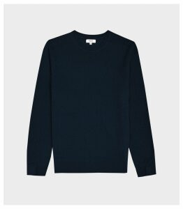 Reiss Jinks - Wool Cashmere Blend Crew Neck Jumper in Navy, Mens, Size XXL