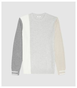 Reiss Simmy - Colour Block Knitted Jumper in Light Grey, Mens, Size XXL