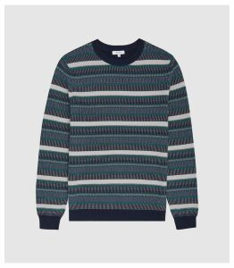 Reiss Fisher - Striped Crew Neck Jumper in Navy, Mens, Size XXL