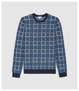 Reiss Palmer - Jacquard Crew Neck Jumper in Blue, Mens, Size XXL