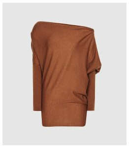 Reiss Harper - Cashmere Blend Drape Shoulder Top in Rust, Womens, Size XXL