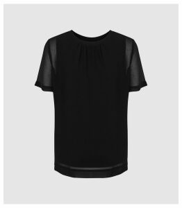 Reiss Verona - Sheer Layered Top in Black, Womens, Size XL