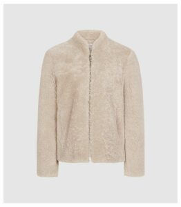 Reiss Nola - Shearling Jacket in Cream, Womens, Size XL