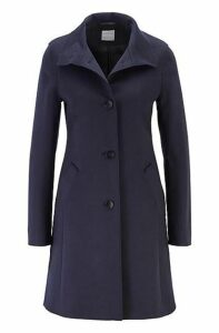 Button-through coat in a wool blend with cashmere