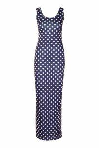 Womens Polka Dot Maxi Dress - navy - 16, Navy