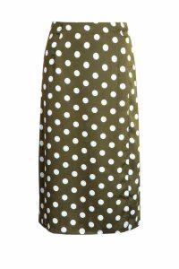 Womens Satin Polka Dot Split Midi Skirt - Green - 12, Green