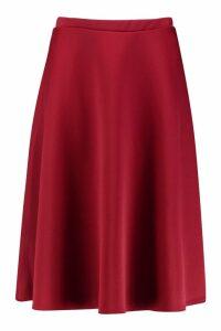 Womens Plus Basic Plain Full Circle Midi Skater Skirt - Red - 26, Red