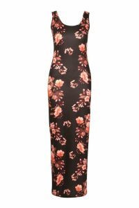 Womens Dark Floral Maxi Dress - black - 14, Black