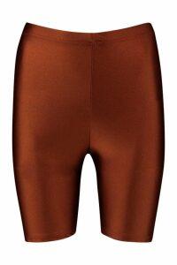 Womens High Shine Cycling Shorts - brown - 16, Brown