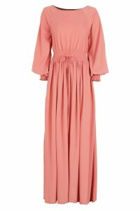 Womens Shirred Waist & Cuff Woven Maxi Dress - Pink - 16, Pink