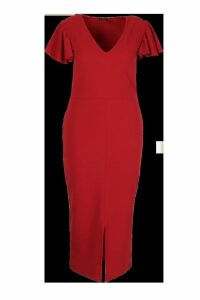 Womens Plus Plunge Ruffle Split Front Midi Dress - red - 18, Red