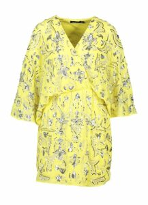 Womens Premium Hand Embellished Kimono Sleeve Dress - yellow - 14, Yellow