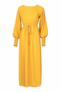 Womens Woven Shirred Waist Maxi Dress - yellow - 6, Yellow