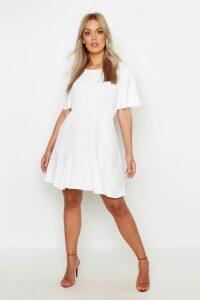 Womens Plus Tiered Crepe Smock Dress - white - 16, White