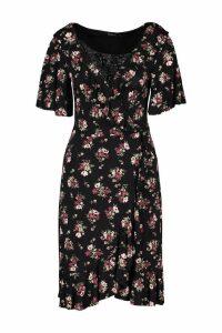 Womens Tall Floral Print Ruffle Wrap Dress - Black - 16, Black