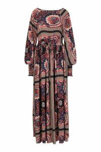 Womens Shirred Waist Scarf Print Maxi Dress - blue - 14, Blue