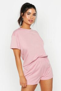 Womens Basic T-Shirt & Short Set - pink - 14, Pink