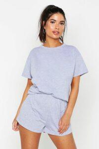 Womens Basic T-Shirt & Short Set - grey - 14, Grey