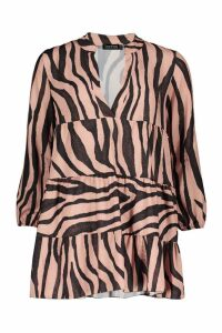 Womens Petite Tiger Print Smock Dress - brown - 10, Brown