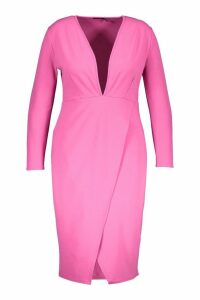 Womens Plus Plunge Wrap Midi Dress - pink - 16, Pink