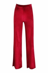 Womens Velvet Wide Leg Trousers - red - 14, Red