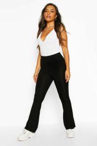 Womens Petite Basic Rib Flares - black - 12, Black