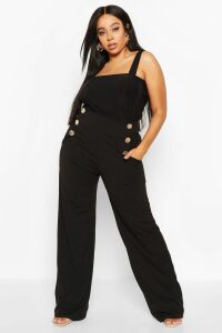 Womens Plus High Waisted Gold Button Tailored Trouser - Black - 22, Black
