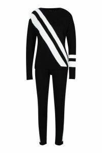 Womens Knitted Sports Stripe Set - black - S, Black