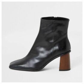 River Island Womens Black leather platform wood heel boots