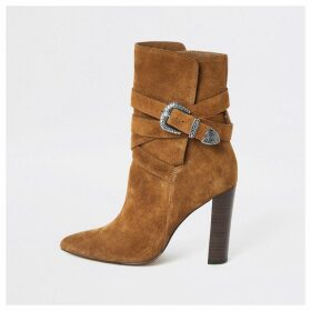River Island Womens Brown suede western heeled boots