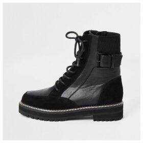 River Island Womens Black suede lace-up chunky biker boots