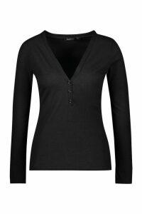Womens Basic Rib long Sleeve Button Detail Top - black - 8, Black