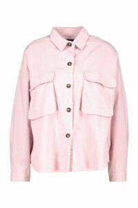 Womens Super Oversize Mock Horn Button Cord Shirt - pink - 16, Pink