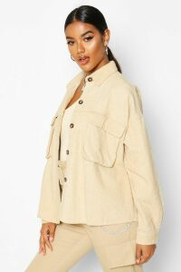 Womens Super Oversize Mock Horn Button Cord Shirt - cream - 16, Cream