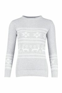 Womens Reindeer Fairisle Christmas Jumper - grey - S/M, Grey