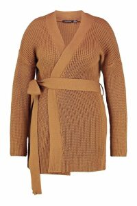 Womens Plus Chunky Knitted Belted Boyfriend Cardigan - beige - 20, Beige