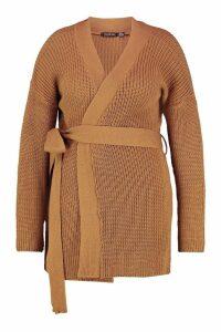 Womens Plus Chunky Knitted Belted Boyfriend Cardigan - beige - 20, Beige