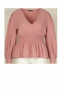 Womens Plus Shirred Waist Peplum Blouse - Pink - 20, Pink