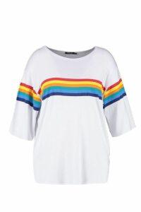 Womens Plus Rainbow Print T-Shirt - white - 20, White