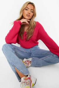 Womens Crop Twist Jumper - Pink - S/M, Pink