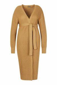 Womens Plus Longline Knitted Maxi Cardigan - Beige - 18, Beige