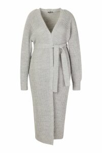 Womens Plus Longline Knitted Maxi Cardigan - grey - 20, Grey