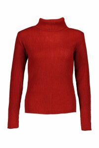 Womens Petite Rib Knit Roll Neck Jumper - Orange - M, Orange
