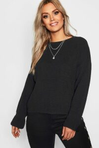 Womens Plus Cuff Detail Fisherman Jumper - black - 18, Black