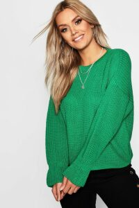 Womens Plus Cuff Detail Fisherman Jumper - green - 24, Green