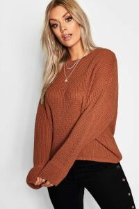 Womens Plus Cuff Detail Fisherman Jumper - orange - 18, Orange
