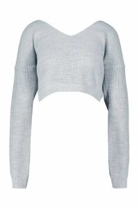 Womens V Neck Fisherman Crop Jumper - grey - M, Grey