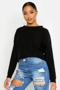 Womens Boxy Scoop Neck Jumper - Black - Xs, Black