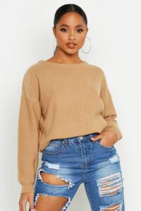 Womens Boxy Scoop Neck Jumper - beige - S, Beige