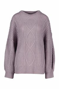 Womens Oversized Cable Jumper - grey - S/M, Grey